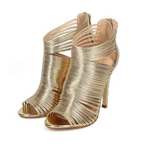 Gold Caged Peep Toe Stiletto Gold Sandals *NEW*